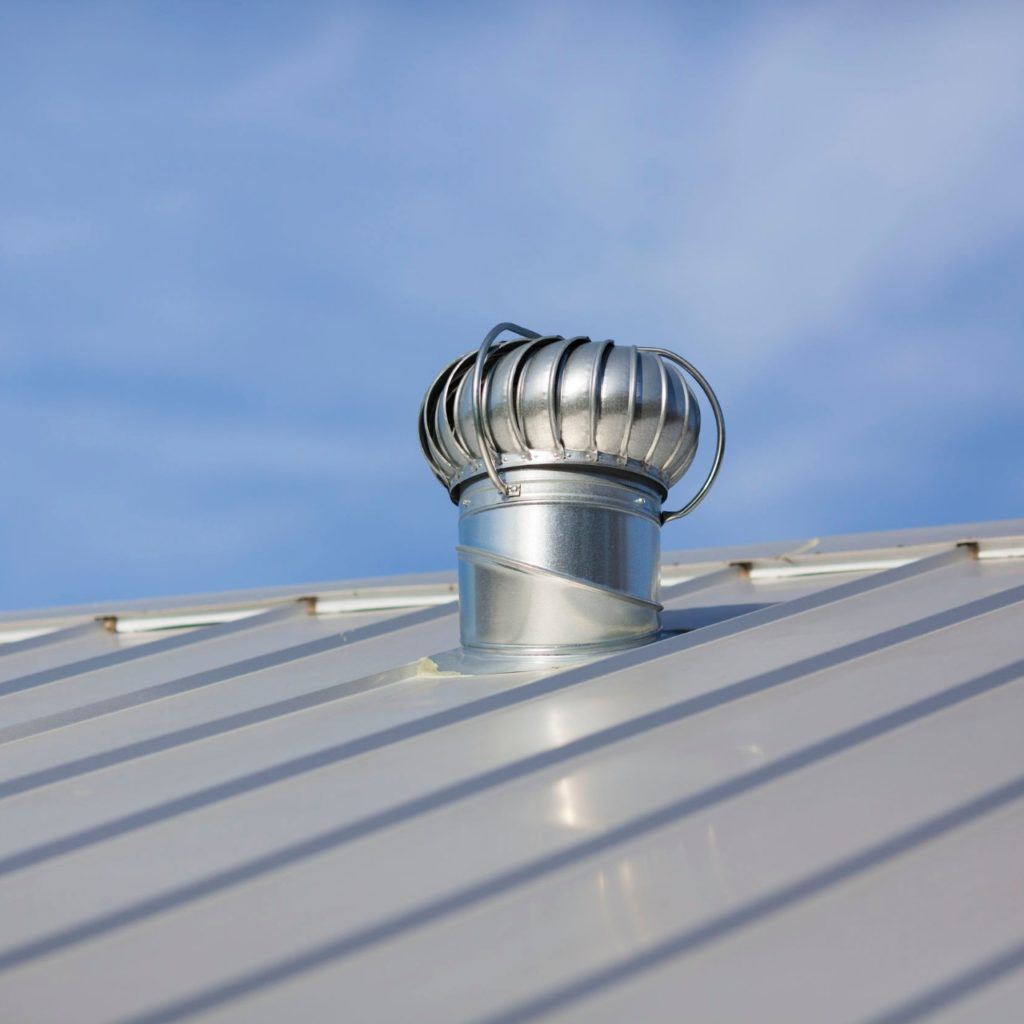 Silver metal roof with silver vent
