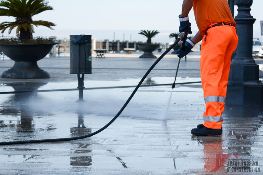Commercial Roof Washing Being Completed by Contractor