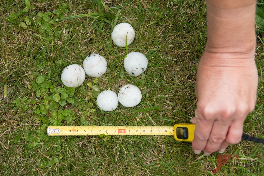 Measuring Hail Sizes for Roof Hail Damage Repair