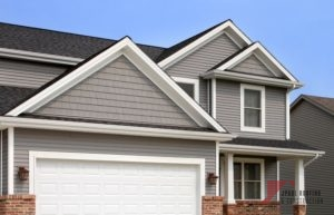 grey two story residential home